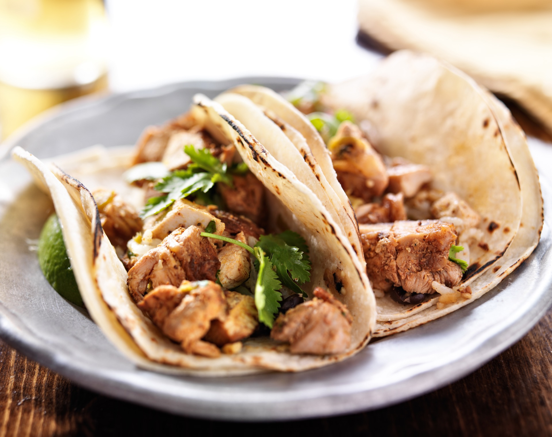 Mexican tacos with WA Foods chicken and cilantro